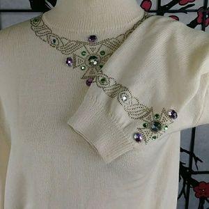 Vintage St John  Rhinestone Studded Sweater